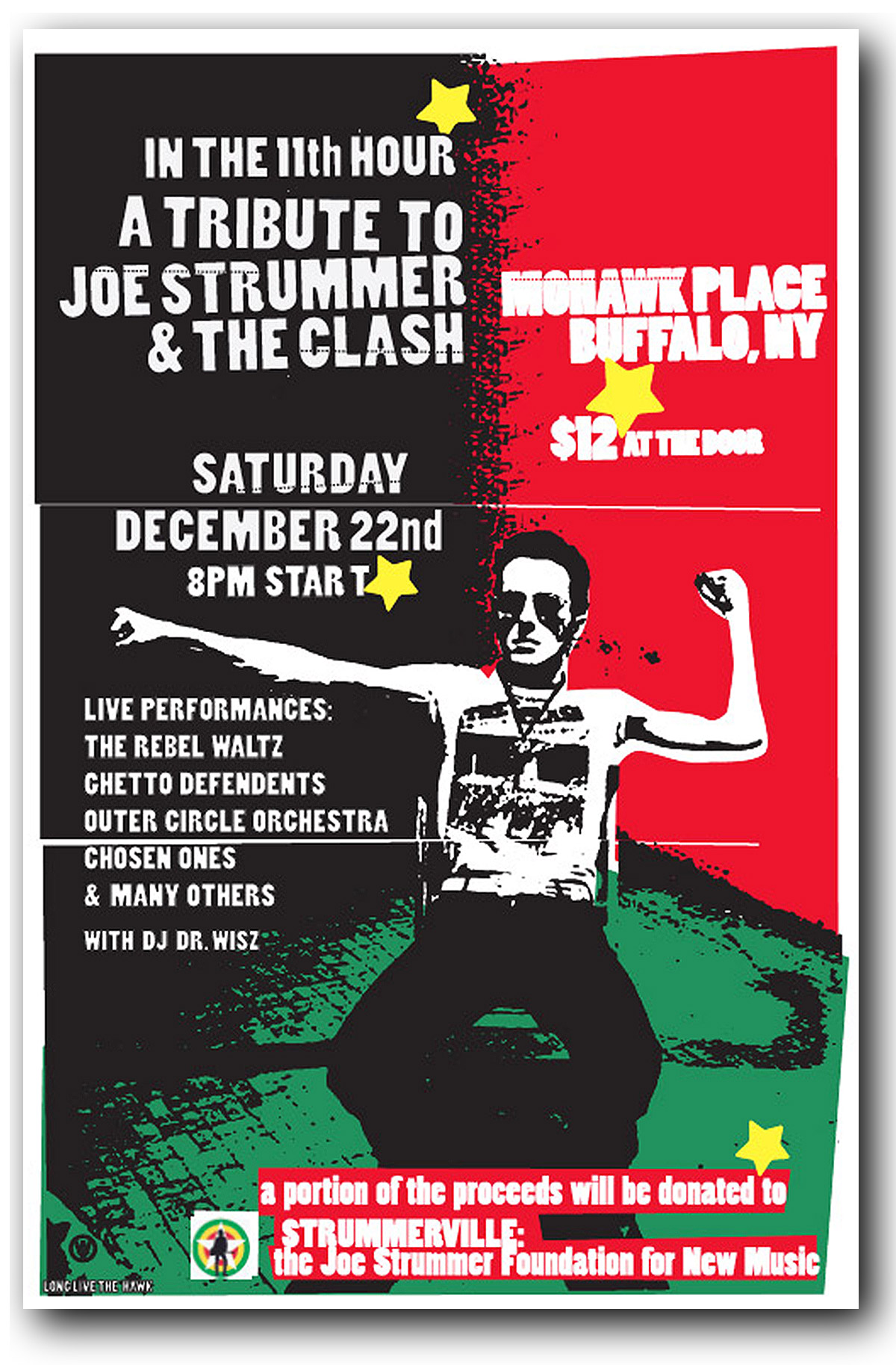 tribute to Joe Strummer and the clash,mohawk place,buffalo ny, poster design, mark wisz