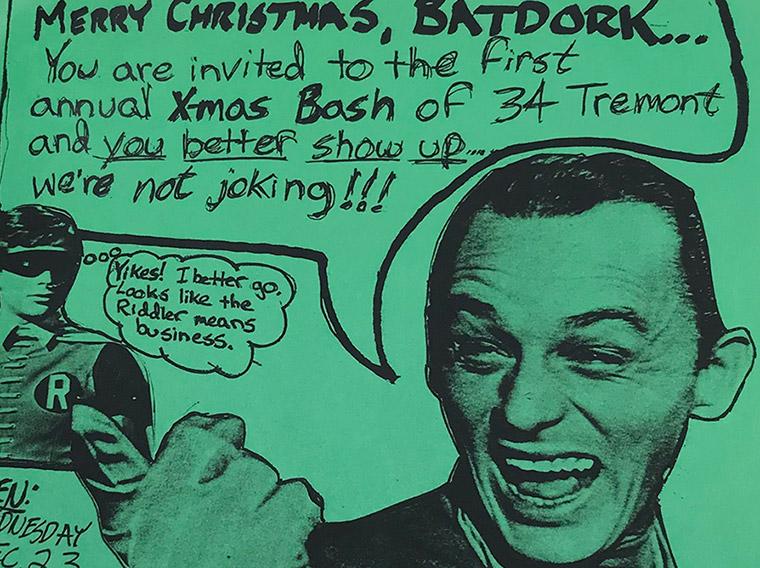 1987 poster design, party flyer, mark wisz, bat dork, riddler, batman, robin, 34 Tremont, Buffalo, NY Buffalo State Collage