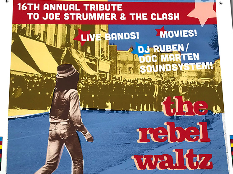 strummer tribute, rebel waltz, black market clash, poster design, mark wisz, buffalo, ny