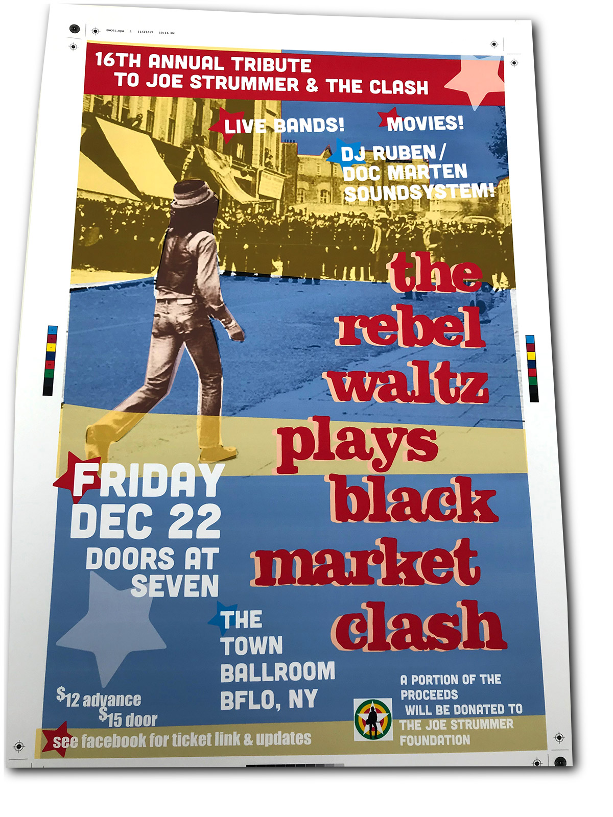 strummer tribute, rebel waltz, black market clash, poster design, mark wisz, buffalo, ny