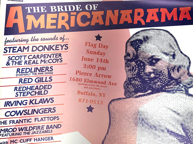 Bride of Americanarama, steam donkeys, scott carpenter, rock poster, buffalo, NY, mark wisz