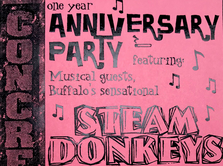 Concrete Anniversary party, buffalo ny, poster design, mark wisz, steam donkeys