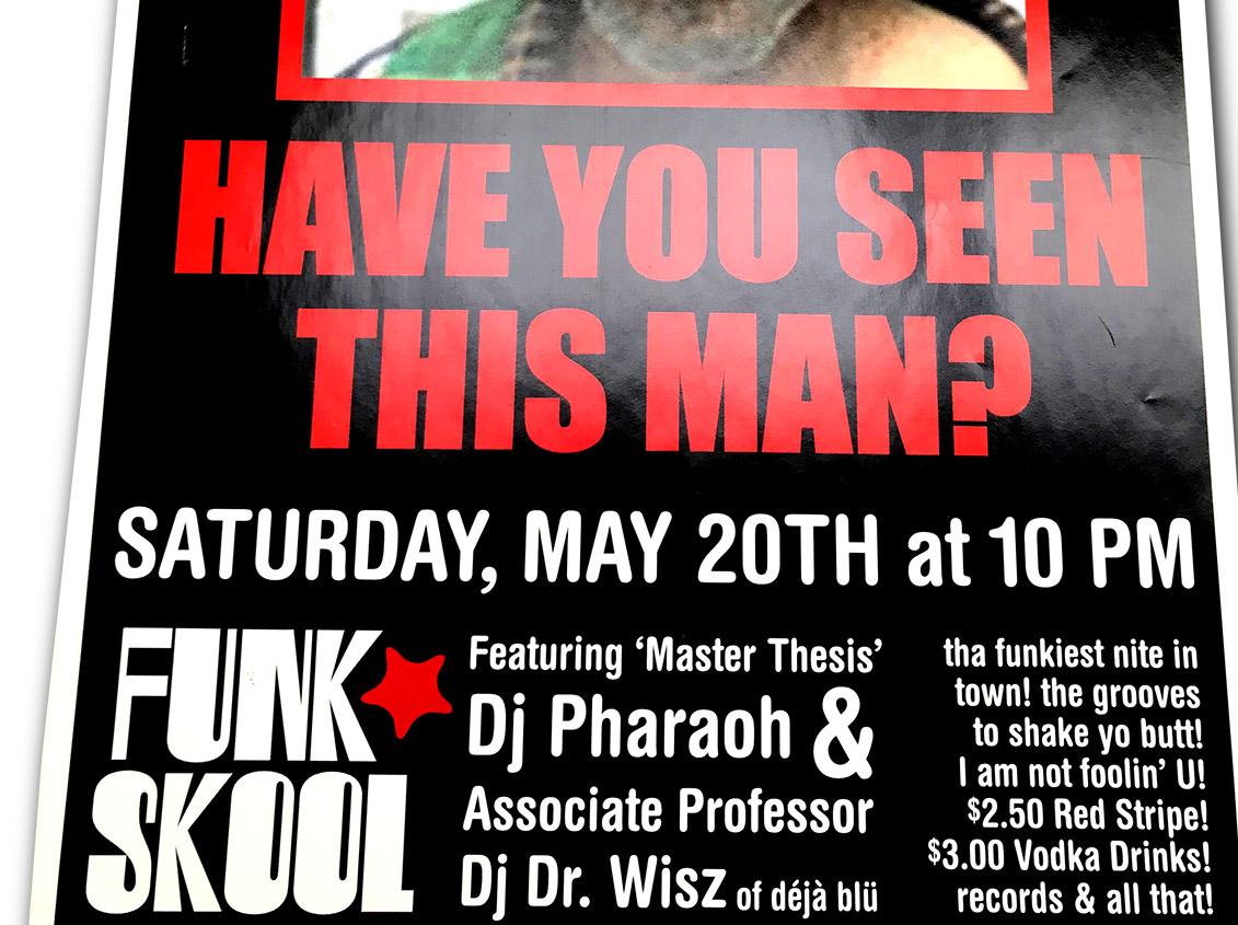 funk stool, dj pharaoh, dr wisz, off the wall, buffalo ny, poster design, dj poster