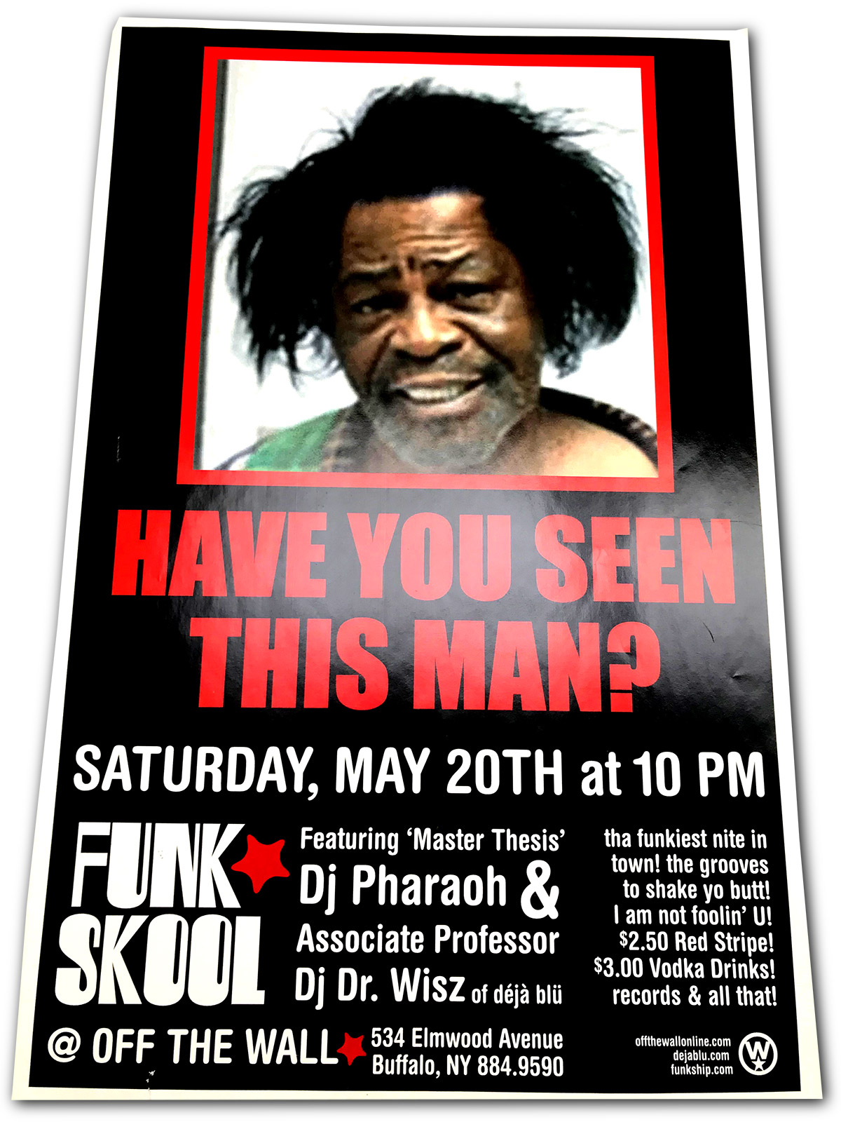 funk stool, dj pharaoh, dr wisz, off the wall, buffalo ny, poster design, dj poster