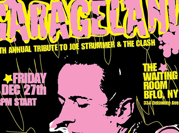 garageland, tribute to joe strummer, the clash, waiting room, buffalo ny, poster design, mark wisz
