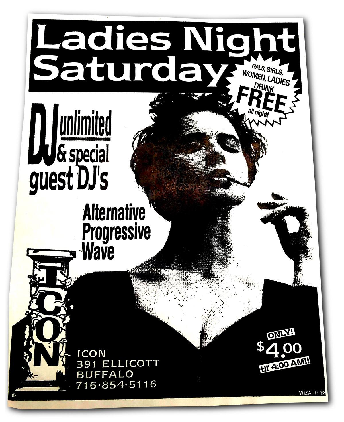 ICON, ladies night, buffalo ny, club poster design