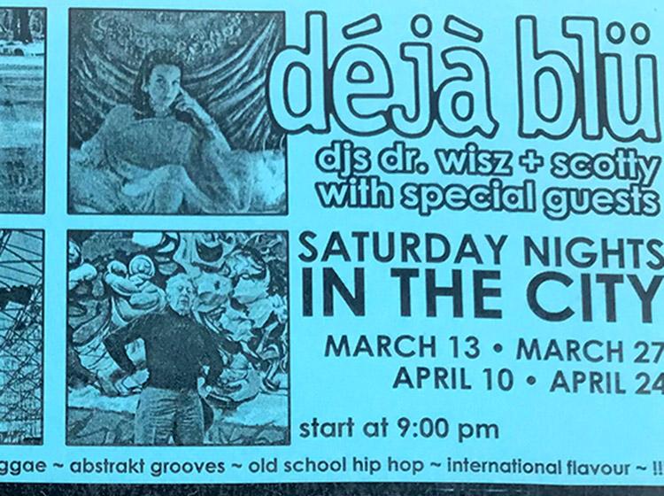 dejablu, deja blu, DJ dr wisz, DJ scotty, DJs, Off The Wall, Buffalo NY, poster design, mark wisz