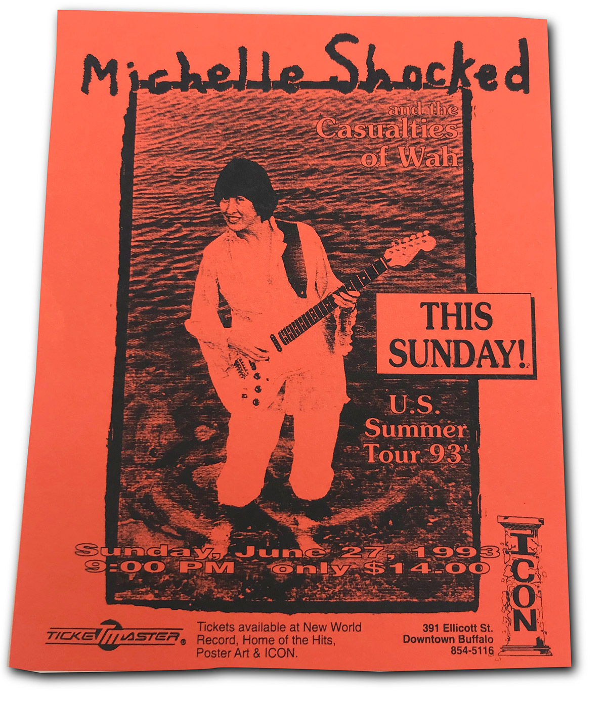 Michelle Shocked, rock poster, ICON, buffalo, NY, mark wisz, 1993