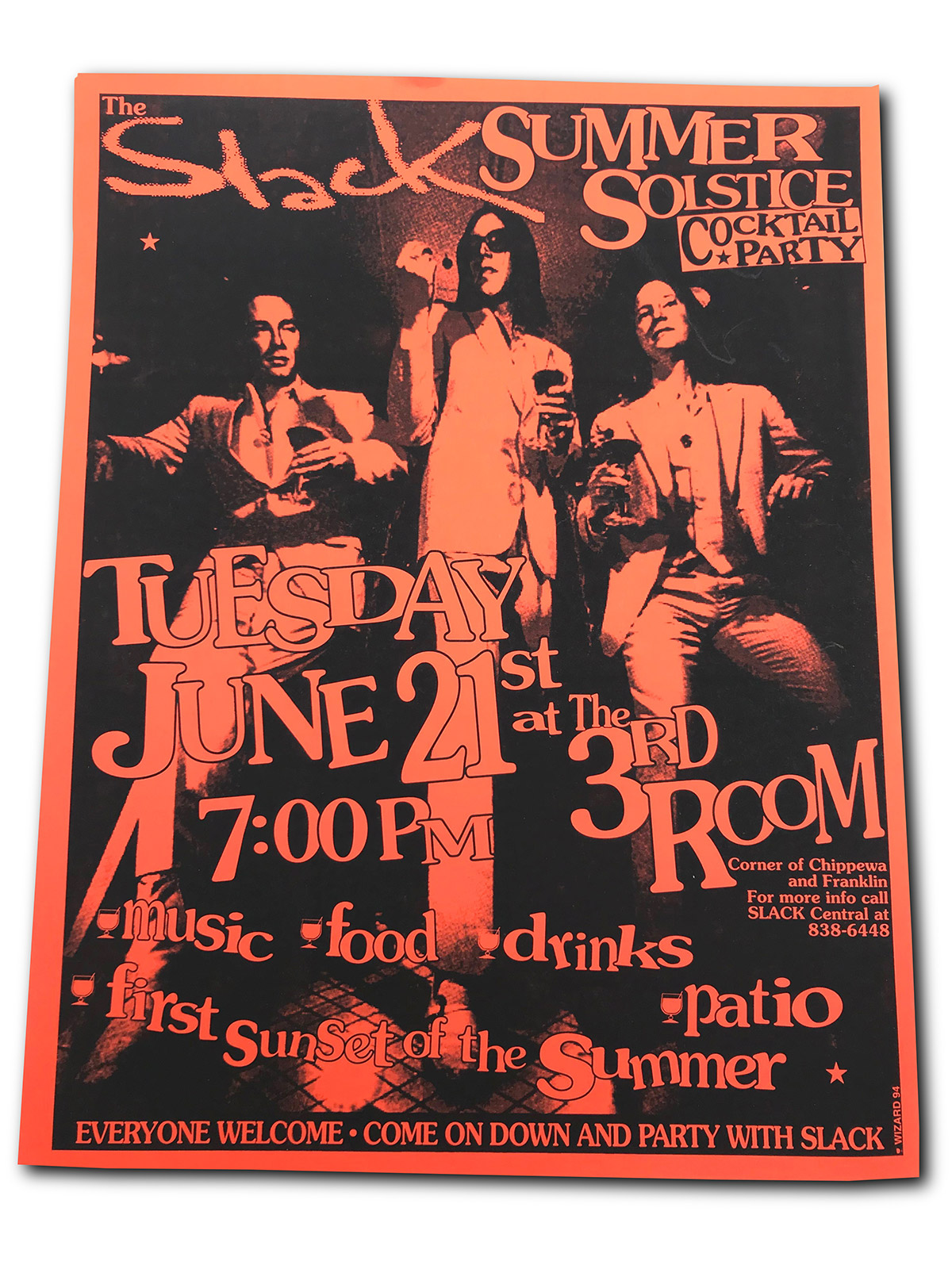 Slack magazine, Buffalo NY, summer solstice party, poster, Third Room, 1994