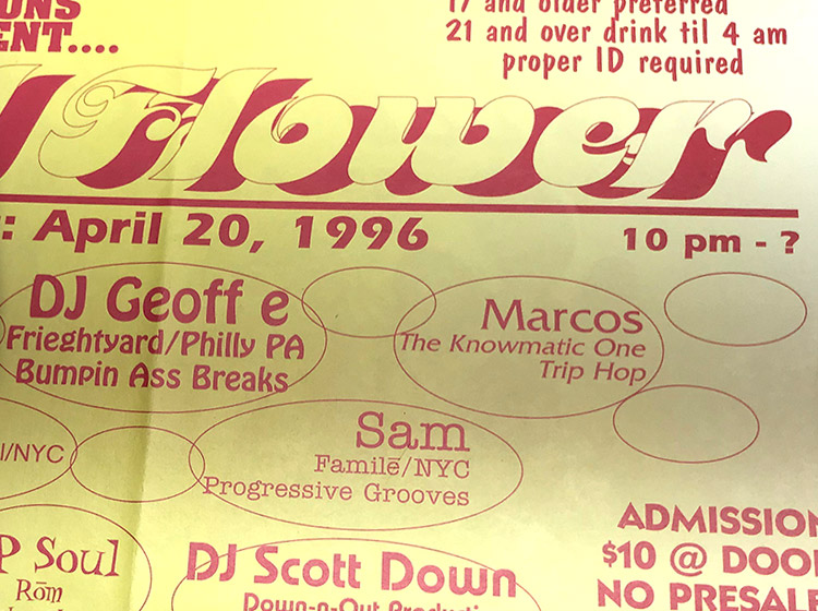 should flower, DJ party, rave, buffalo ny, floor design, poster design, mark wisz