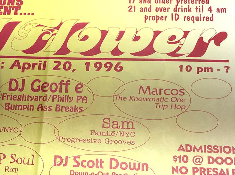 should flower, DJ party, rave, buffalo ny, floor design, poster design, mark wisz