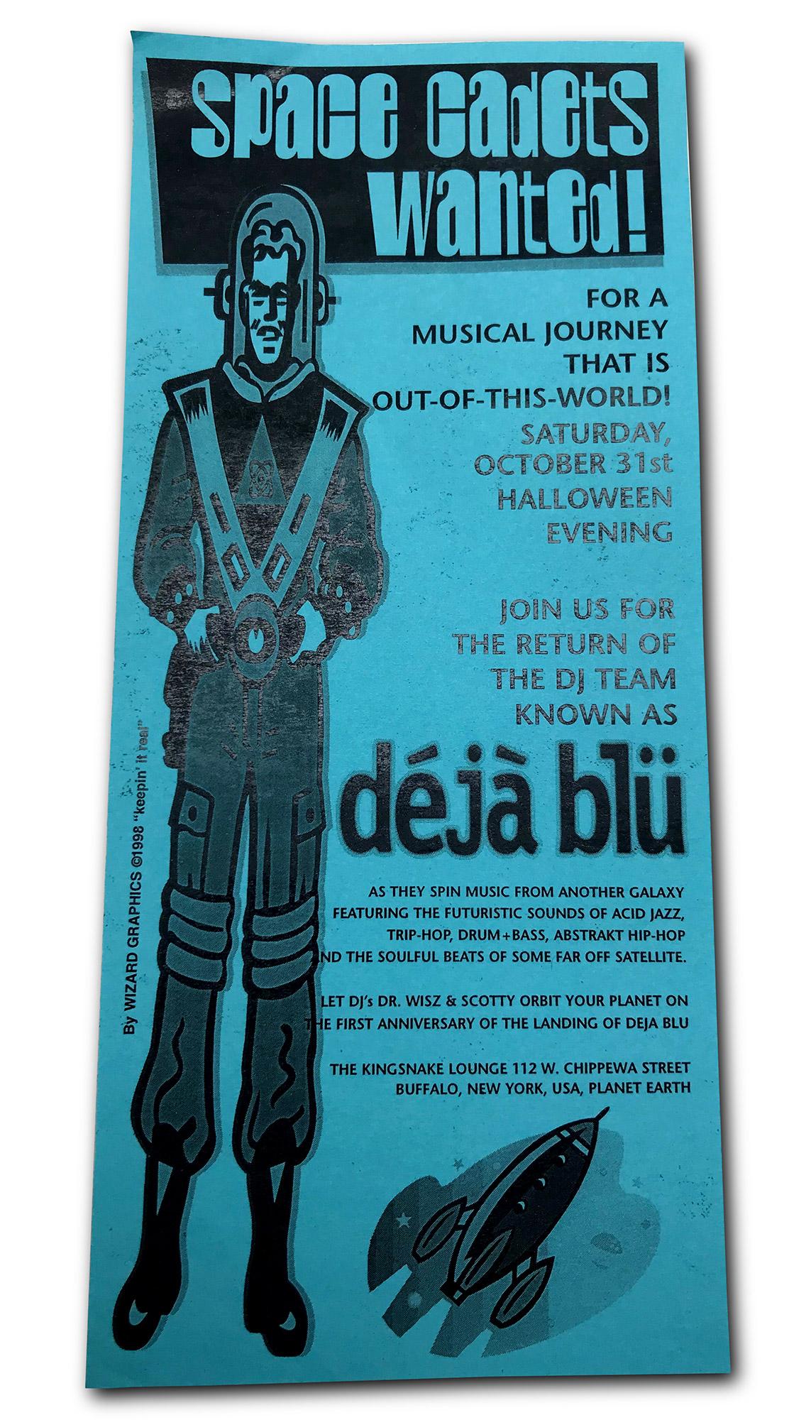deja blu, dejablu, mark wisz, dj scotty, dj dr wisz, kingsnake lounge, buffalo ny, poster design, flyer design, mark wisz