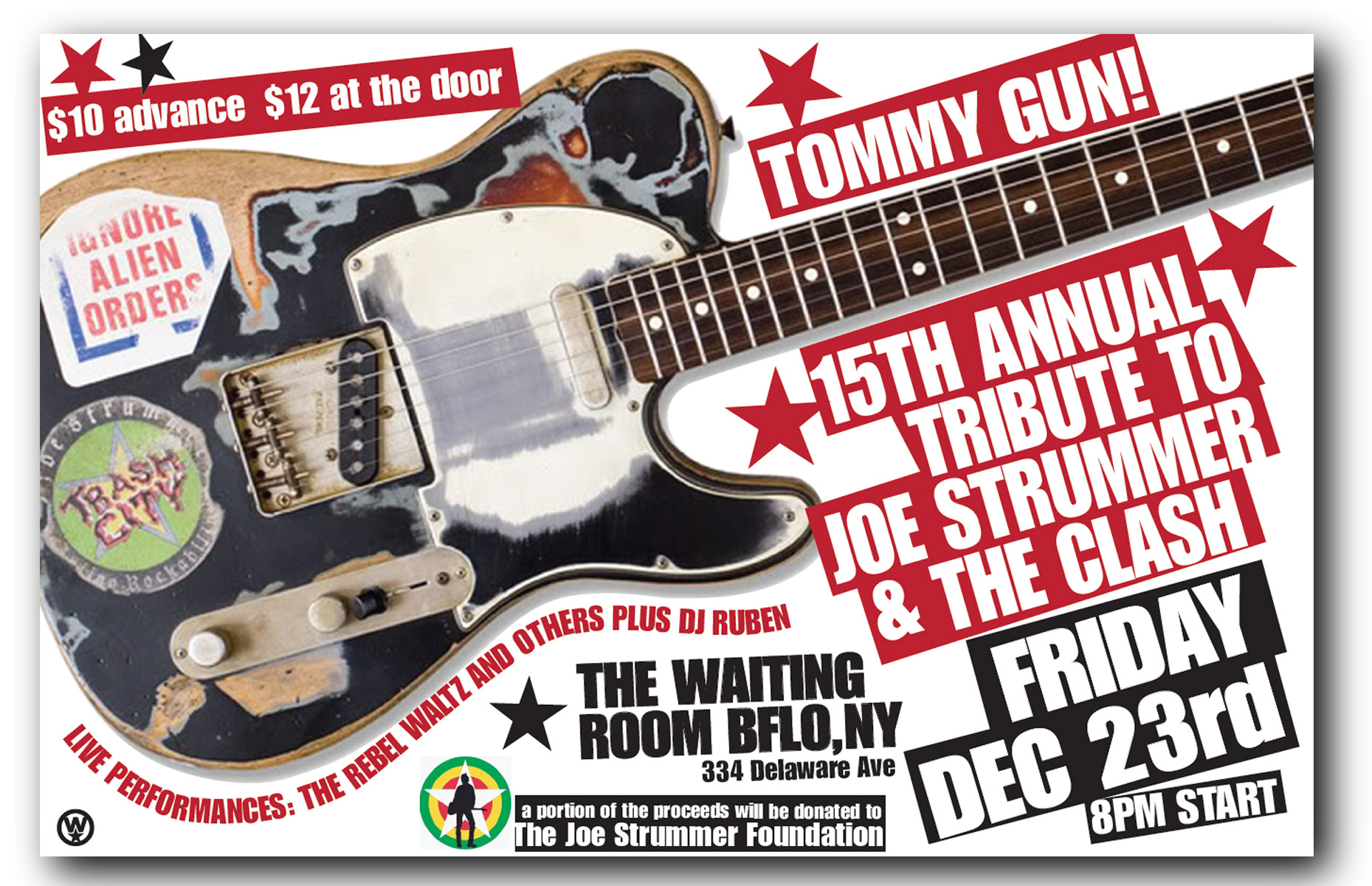 tommy gun, tribute to joe strummer, the clash, waiting room, buffalo ny, poster design, mark wisz