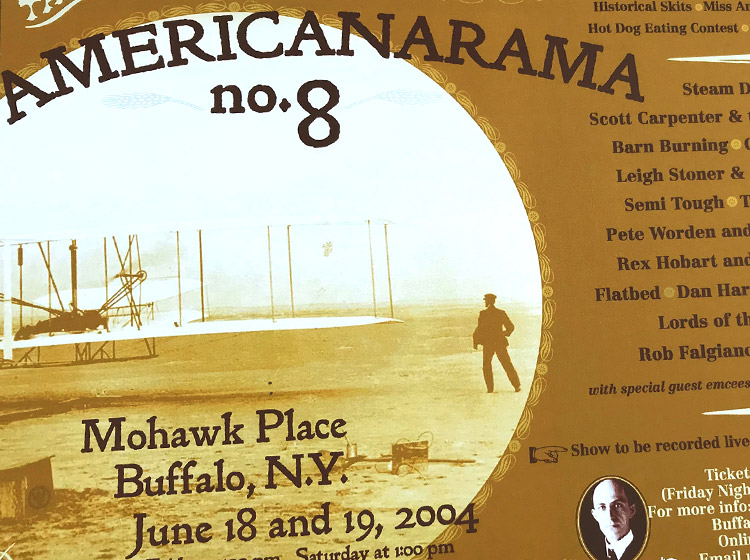 americanarama 8, steam donkeys, mohawk place, buffalo ny, mark wisz, poster design, wright brothers