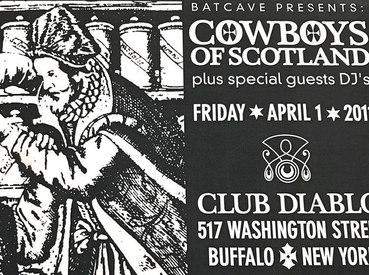 cowboys of scotland, club diablo, buffalo ny, mark wisz, rock poster design