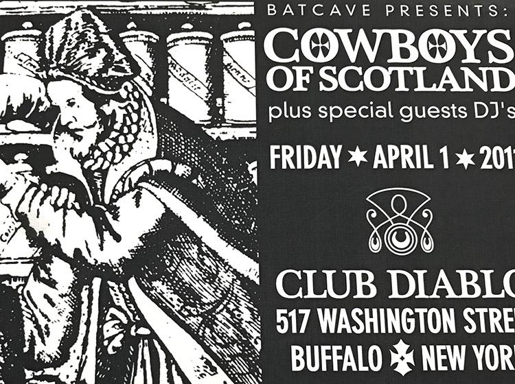 cowboys of scotland, club diablo, buffalo ny, mark wisz, rock poster design