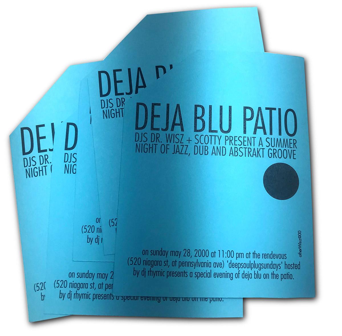 deja blu, dejablu, dj dr wisz, dj scotty, redevous nightclub, buffalo NY, poster design, flyer design, deepsoulplug sundays
