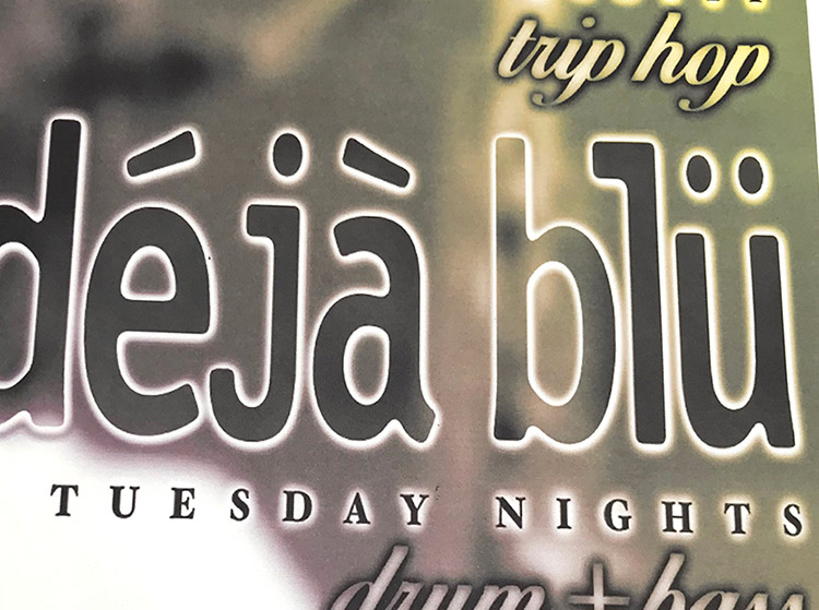 deja blu, djs, dr wisz, scott, tuesday nights, chippewa, king snake, 1998, mark wisz, poster design, buffalo, ny