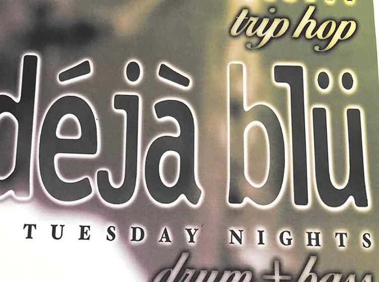 deja blu, djs, dr wisz, scott, tuesday nights, chippewa, king snake, 1998, mark wisz, poster design, buffalo, ny