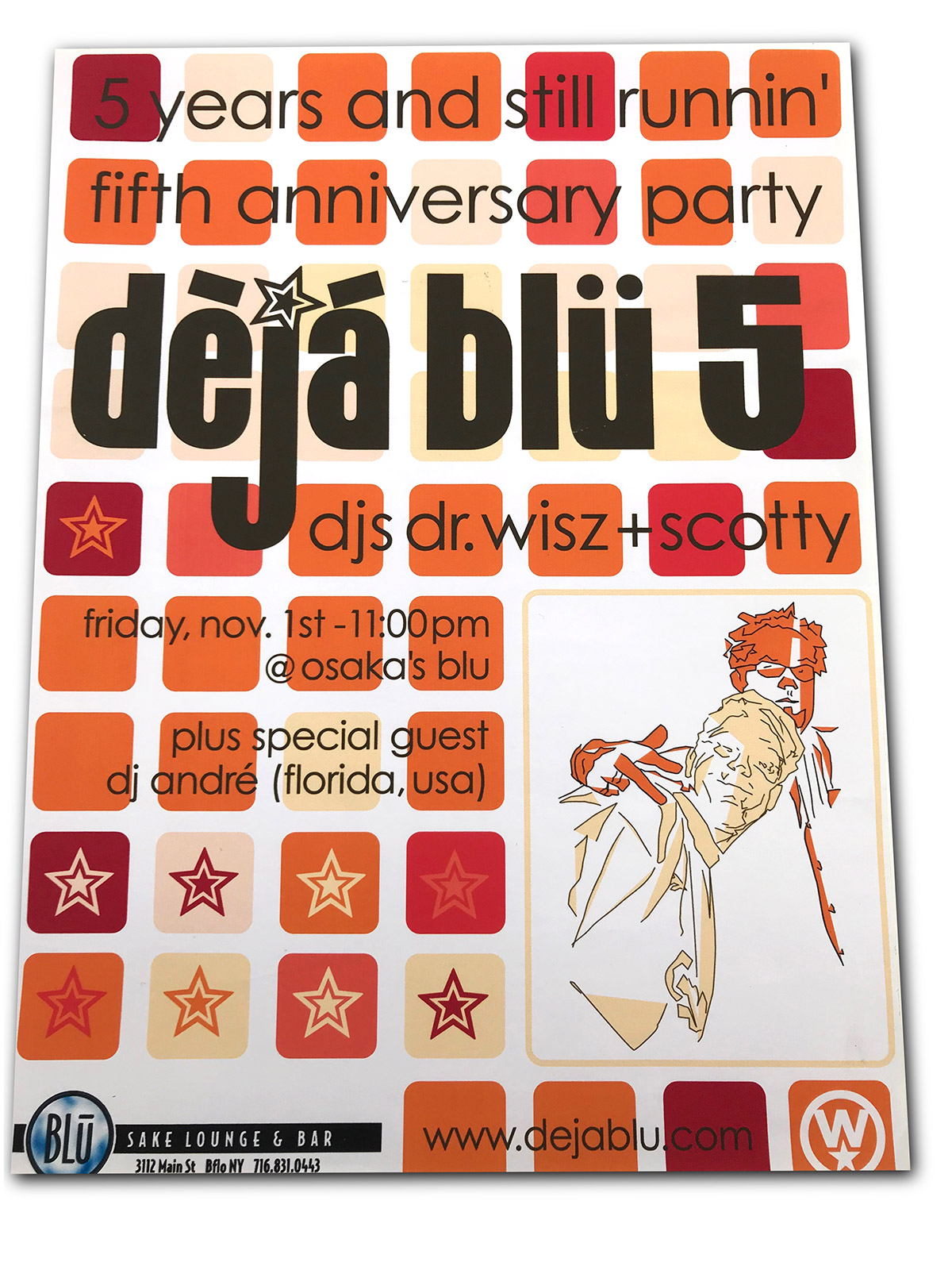 deja blu, djs, buffalo ny, poster design, graphics, mark wisz, dr. wisz