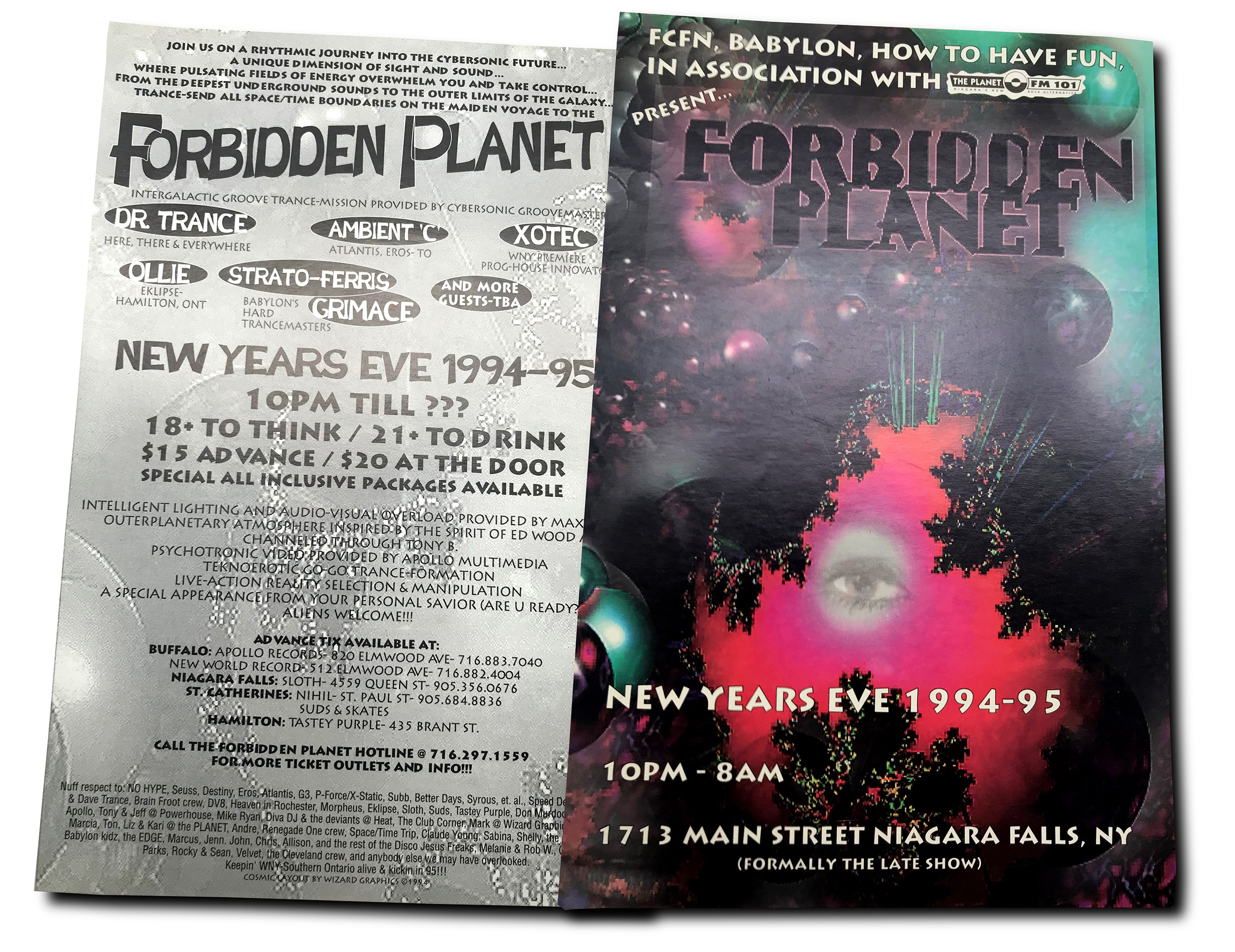 rave flyer, forbidden planet, xotec, buffalo NY, poster design, flyer design