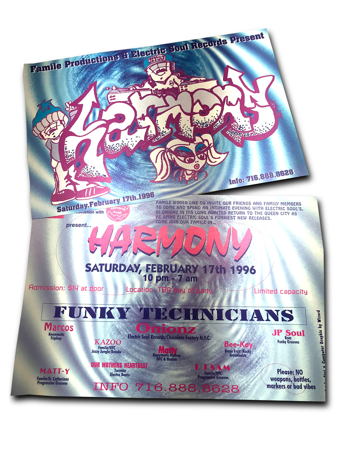 harmony, DJ party, rave, buffalo ny, floor design, poster design, mark wisz