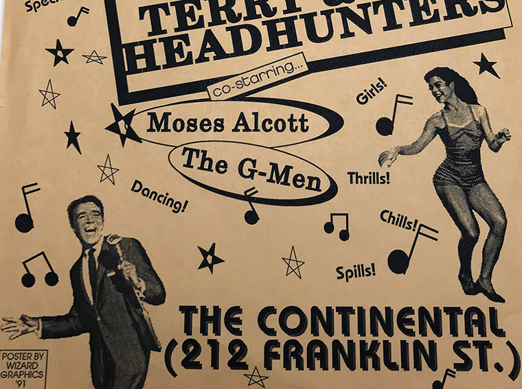 Terry and the Headhunters, continental, rock and roll show, 1991, poster design, mark wisz