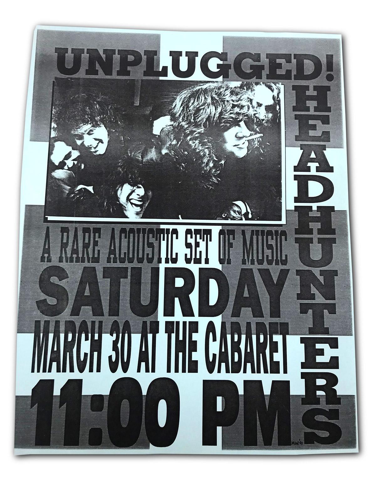 Headhunters, unplugged, the cabaret, buffalo ny, man wisz, poster design, terry sullivan, matt smith