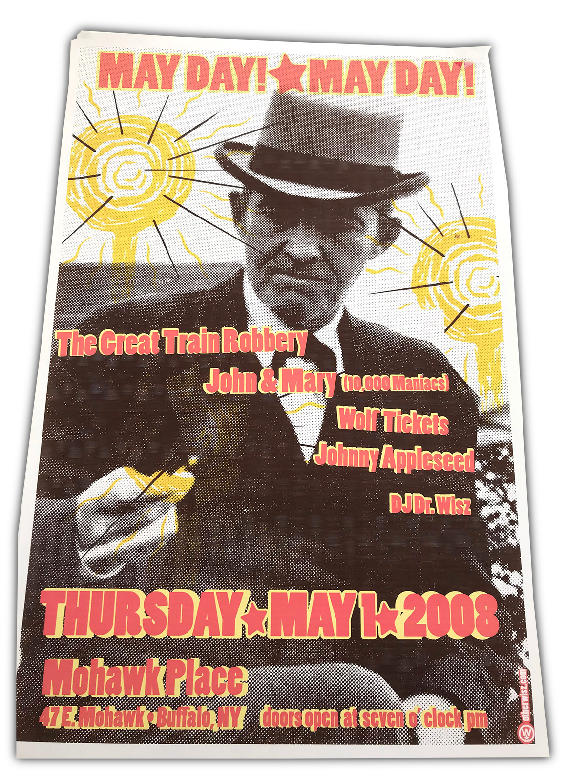 may day, buffalo, ny, poster design, rock poster, dj dr wisz, great train robbery, wolf tickets, mohawk place