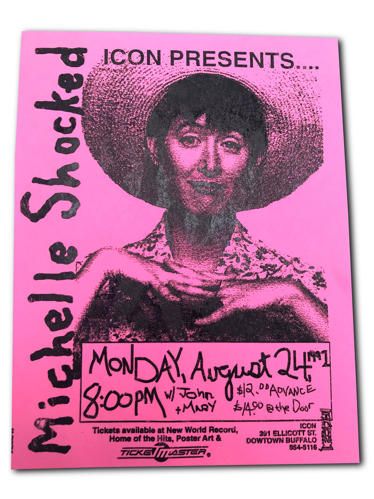 MICHELLE SHOCKED, the Icon, buffalo ny, poster design, mark wisz, 1991