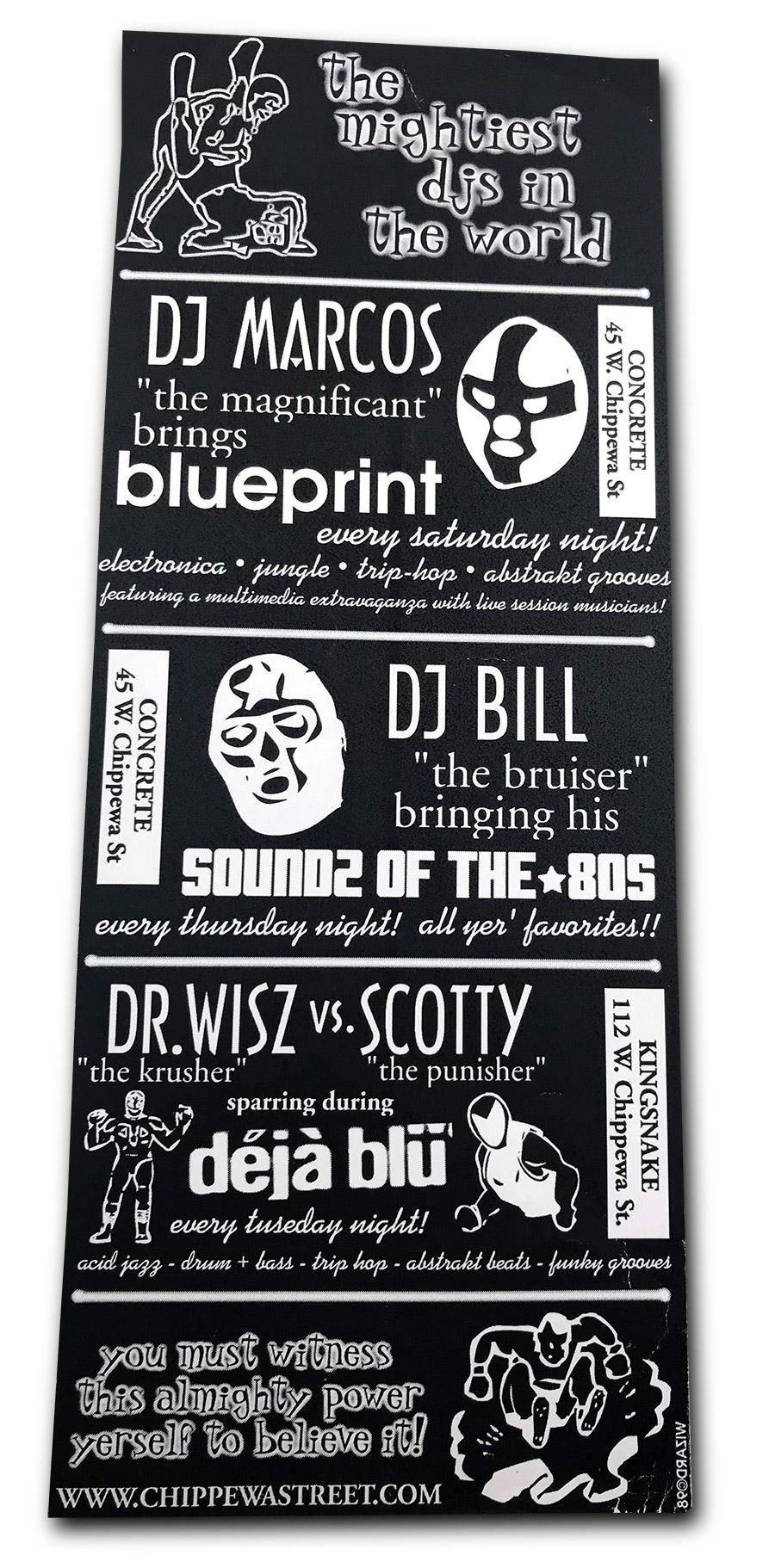 DJs, Concrete, Buffalo NY, Kingsnake Lounge, dejablu, deja blu, Dr Wisz, DJ Scotty, poster design