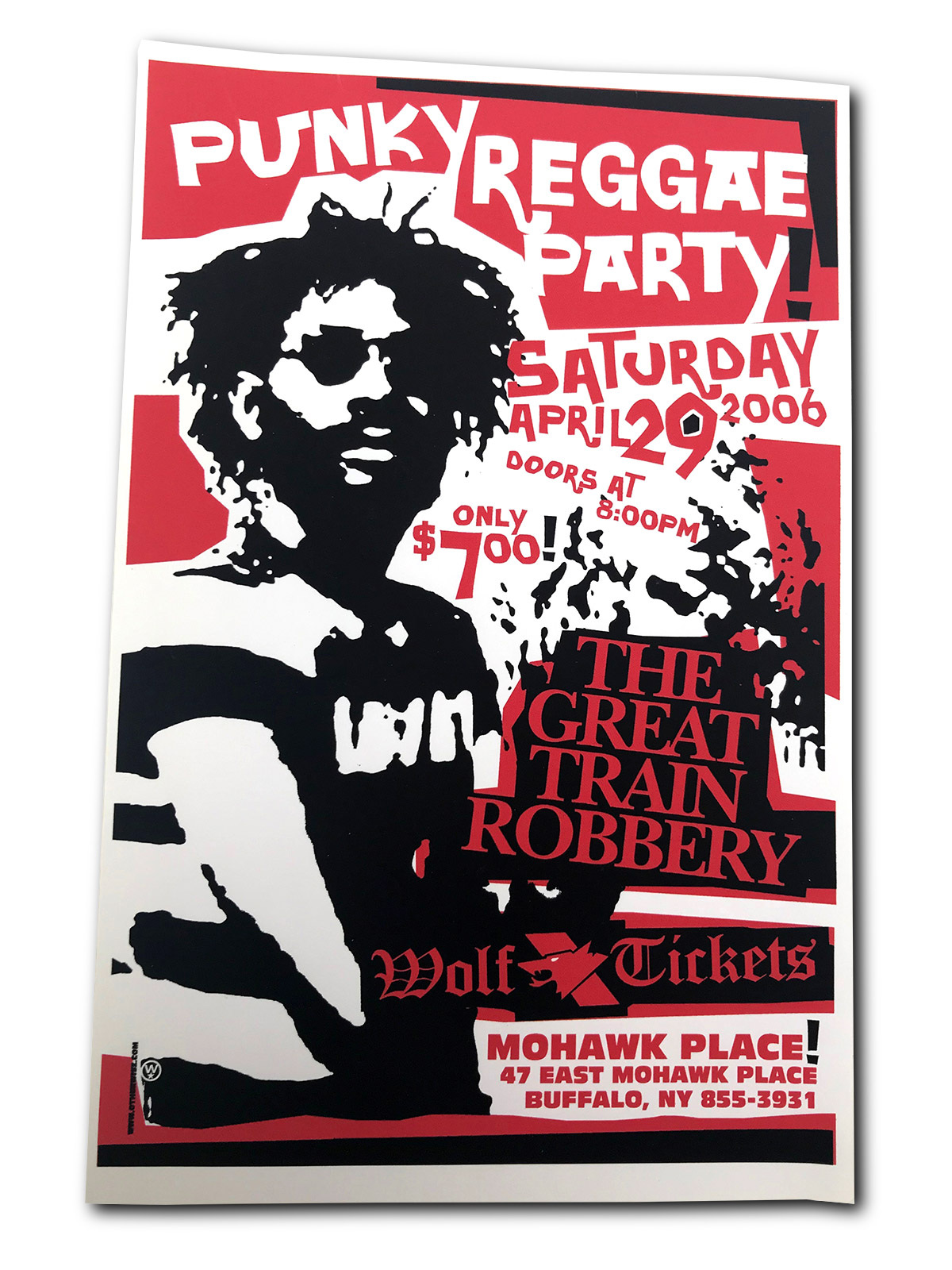 Pinky Reggae party, work tickets, the great train robbery, mohawk place, buffalo ny, poster design, mark wisz