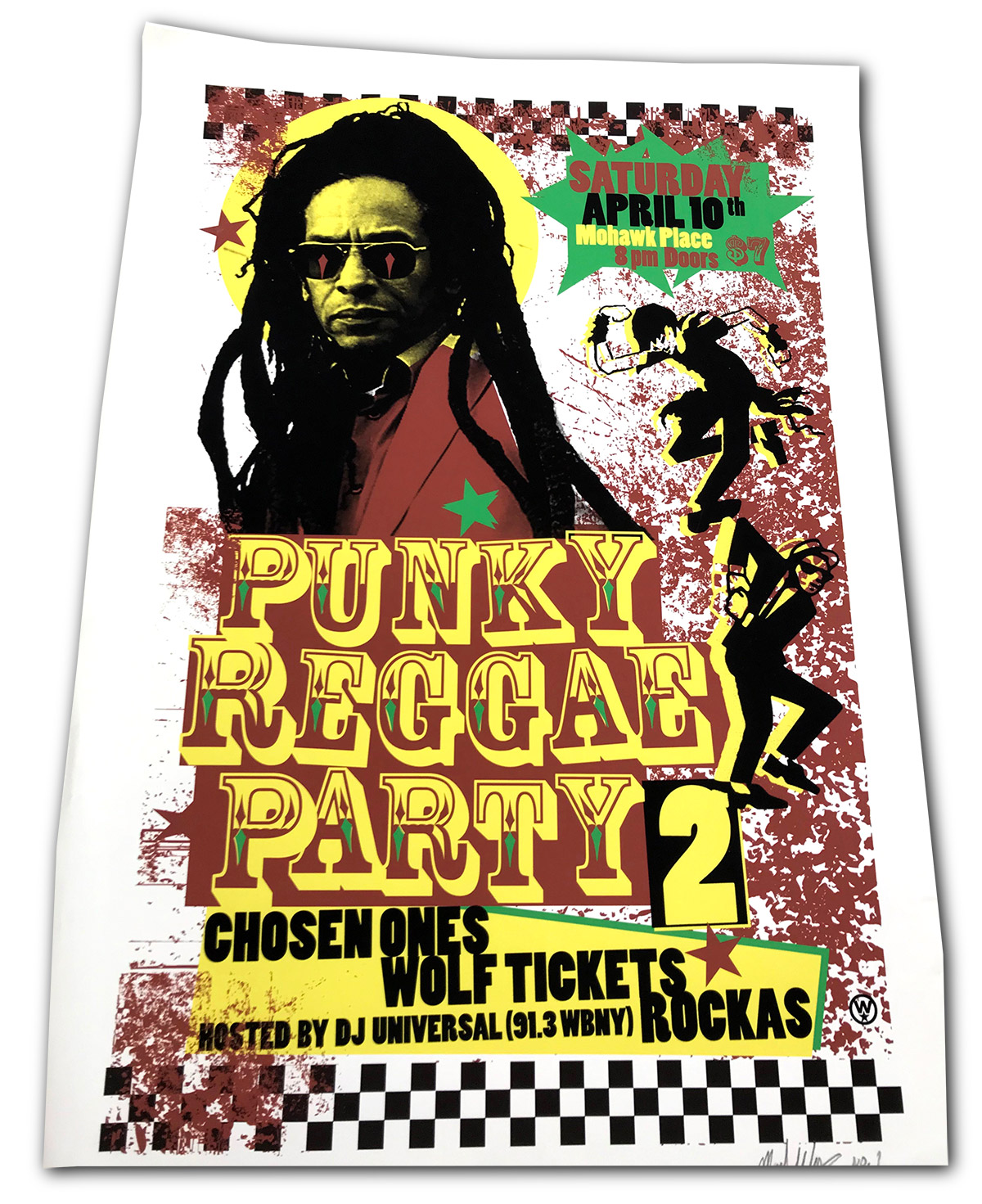 pinky reggae party, mohawk place, buffalo, ny, poster design, mark wisz, wolf tickets