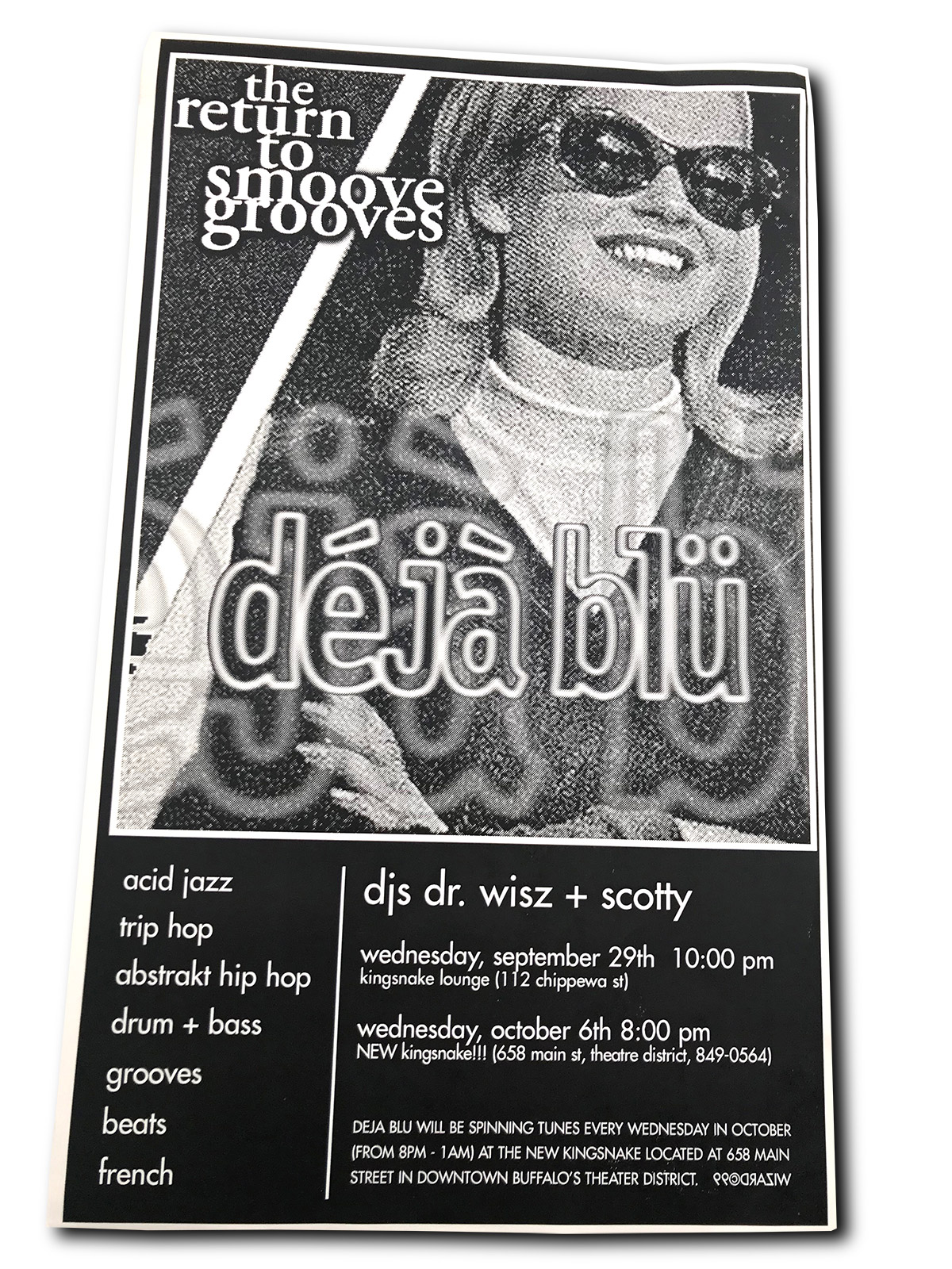 dejablu, deja blu, DJ Dr Wisz, DJ Scotty, king snake lounge, poster design, mark wisz