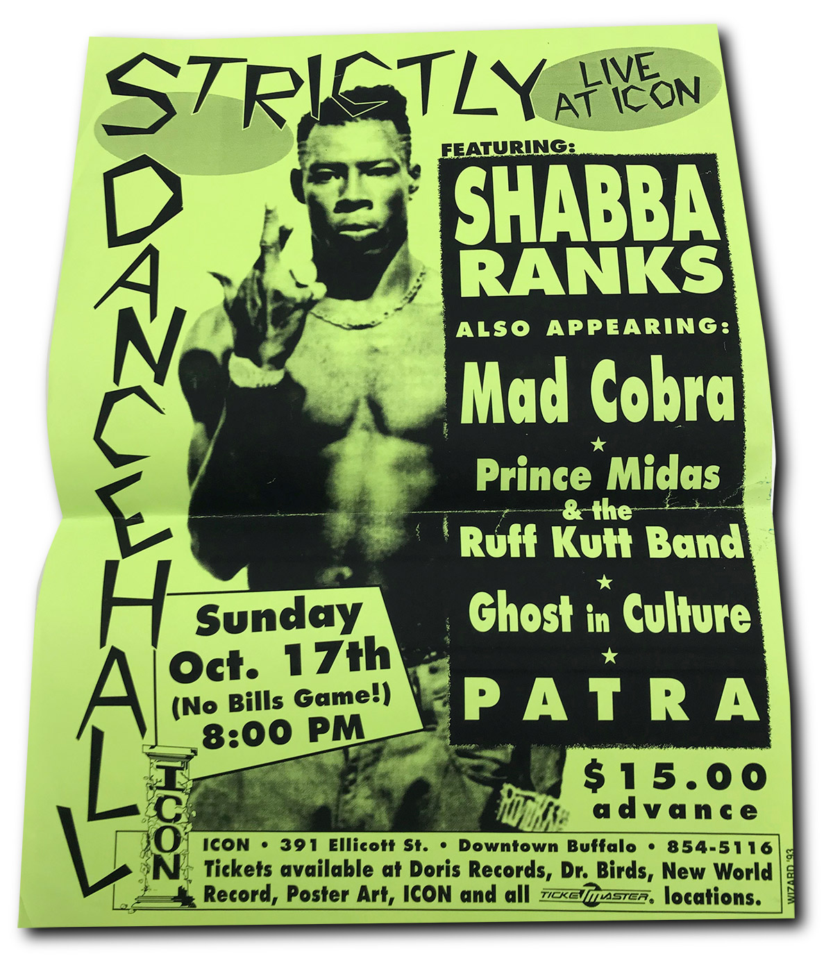 poster design, buffalo, NY, ICON, 1993, Shaba Ranks, part, dancehall