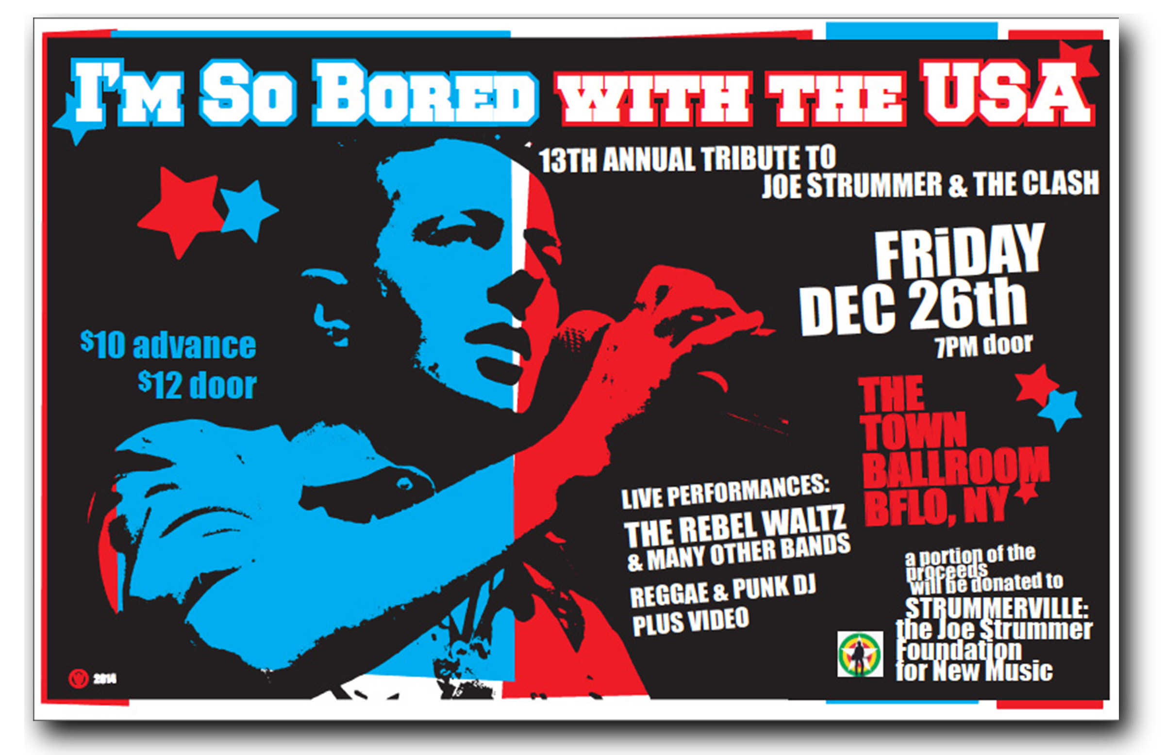 so bored with USA, tribute to Joe Strummer and the clash, town ballroom,buffalo ny, poster design, mark wisz
