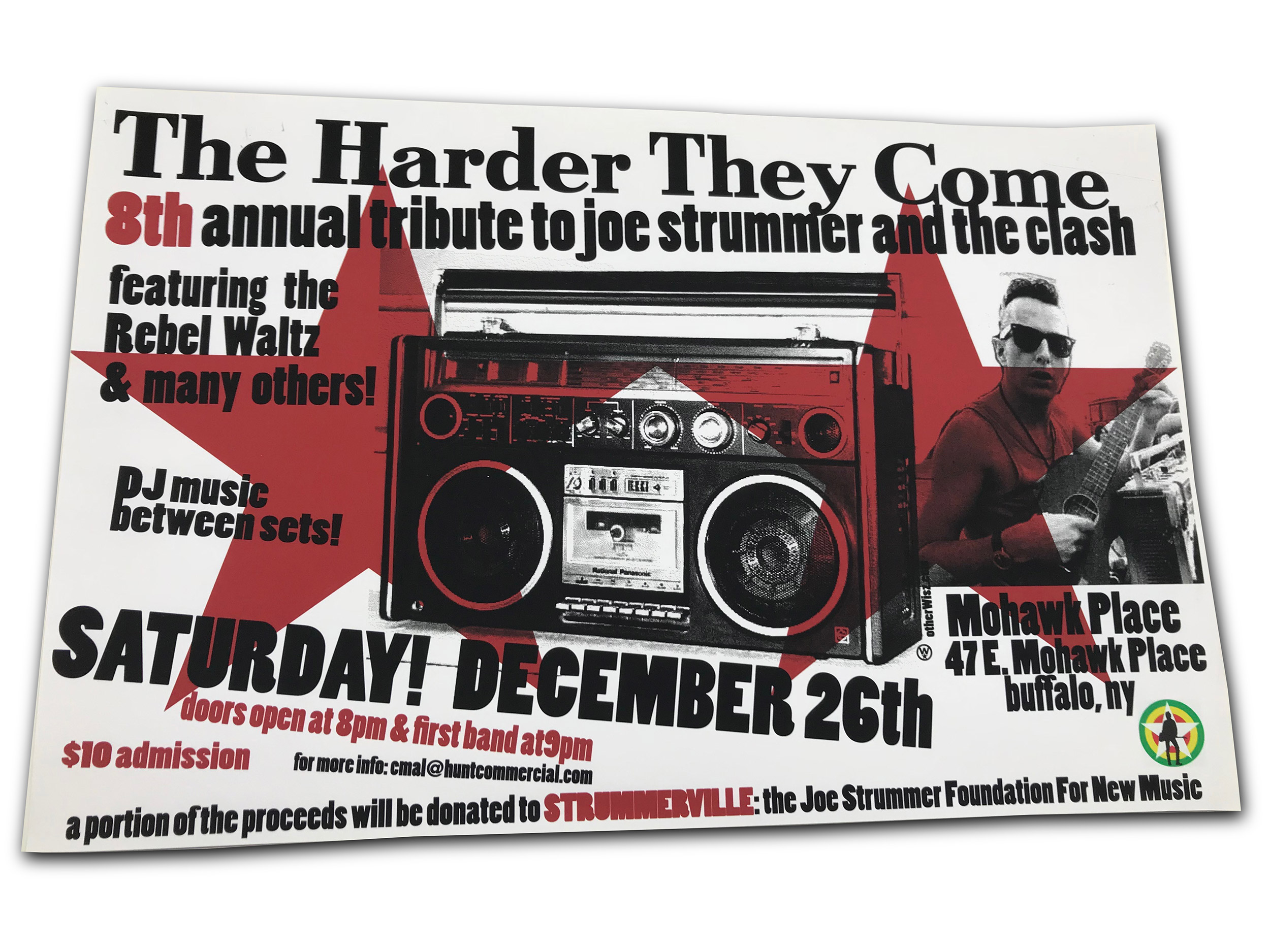 strummer tribute, clash, buffalo ny, mohawk place, mark wisz, poster design