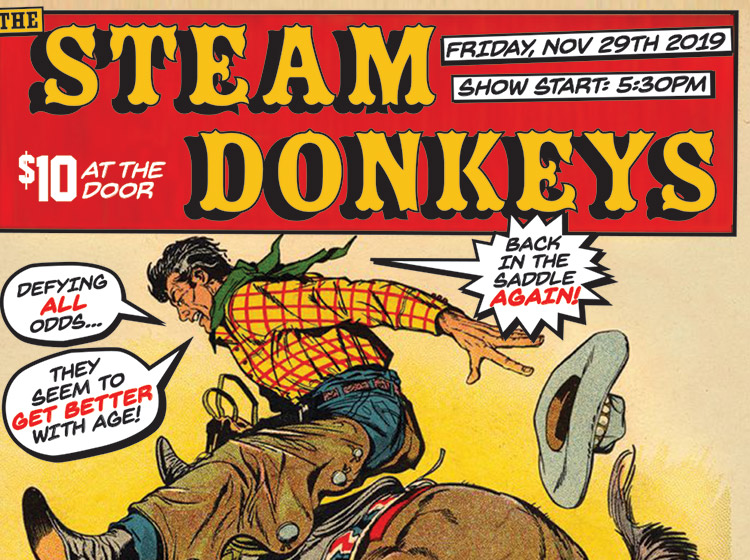 Steam Donkeys, anniversary reunion, rock poster, poster design, buffalo ny, mark wisz, vintage western comic, homage