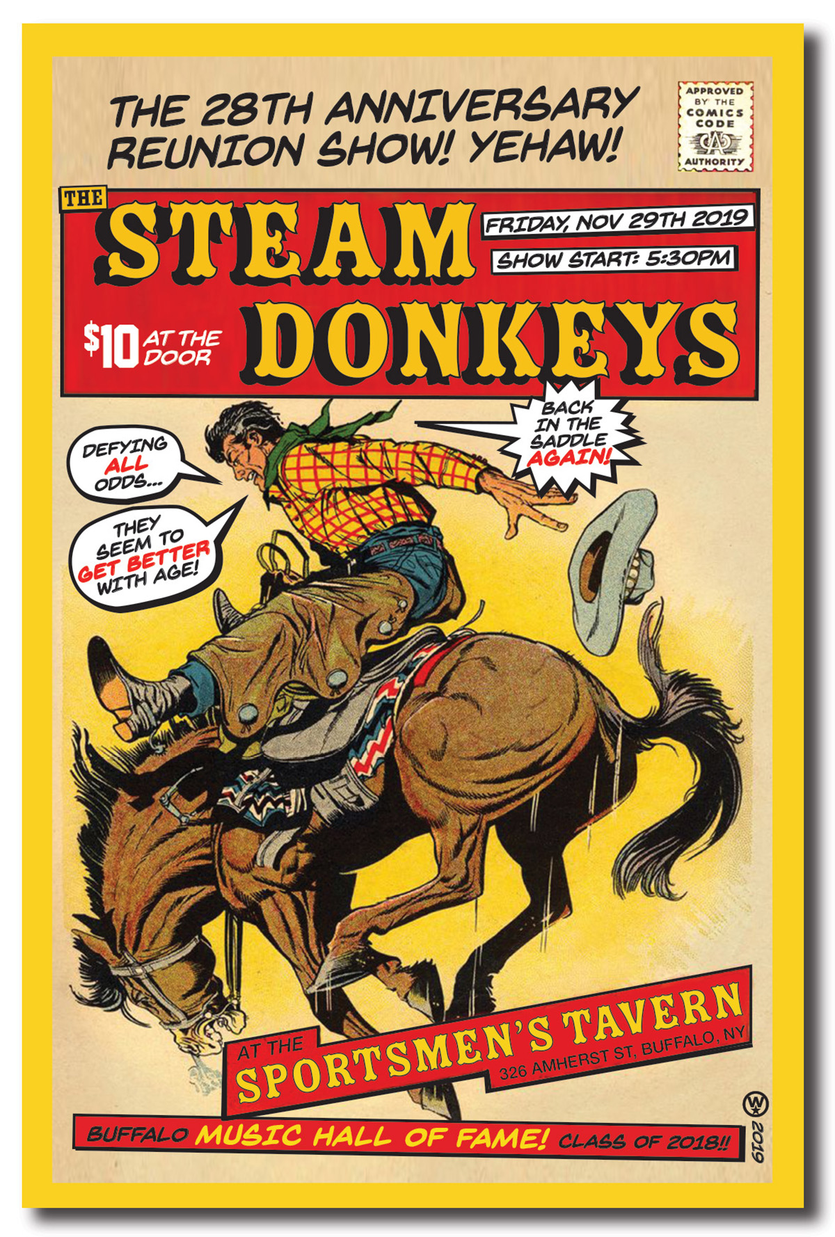 Steam Donkeys, anniversary reunion, rock poster, poster design, buffalo ny, mark wisz, vintage western comic, homage